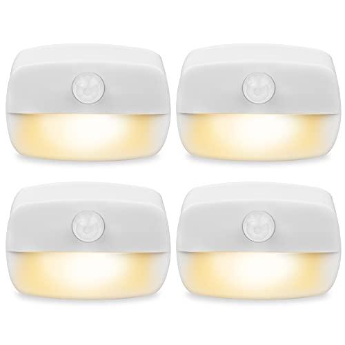 Luz Nocturna con Sensor Movimiento , [4 unidades] Pasillo luz nocturna LED para dormitorio, Luces que Funcionan con Pilas, Adecuada para Dormitorio,Baño,Inodoro,Escaleras
