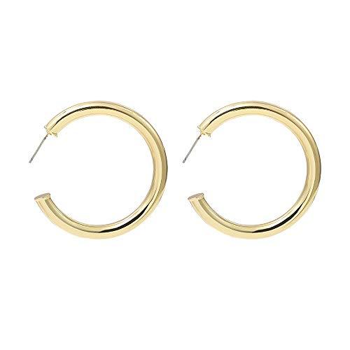 Pendiente de aro de aleación de Color dorado a la moda para mujer, clásico tubo grueso, pendientes circulares redondos grandes, joyería femenina
