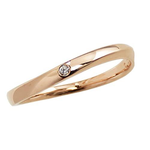 [ジュエリーアイ]Jewelry i 指輪 一粒ダイヤモンドリング 10金 ウェーブライン ピンクゴールドK10 ギフト 10.5号