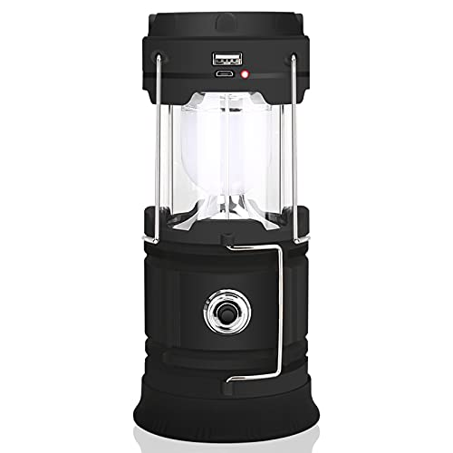 Solar Lantern Camping Light, Wansurs Rechargeable Lantern for Power Outages, Portable Collapsible Lantern with Solar Flashlight for Home, Emergency, Hurricanes, Storm