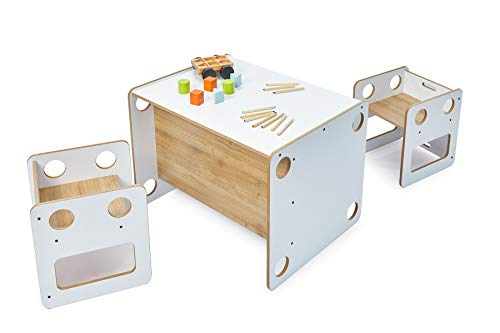 SAKA Kindersitzgruppe mit 1 Kindertisch und 2 Stühle, Sitzgruppe für Kinder, aus MDF, Kindertisch mit Stühle