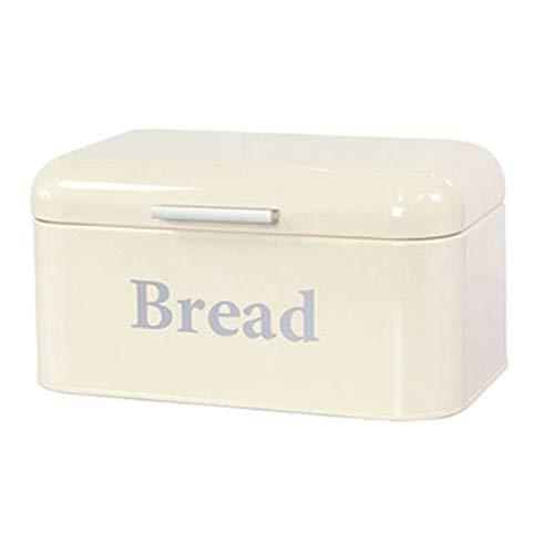 Gesh Caja de almacenamiento vintage para pan, de hierro, acabado de escritorio, a prueba de polvo, caja de almacenamiento para alimentos, estante de cocina, decoración de color blanco