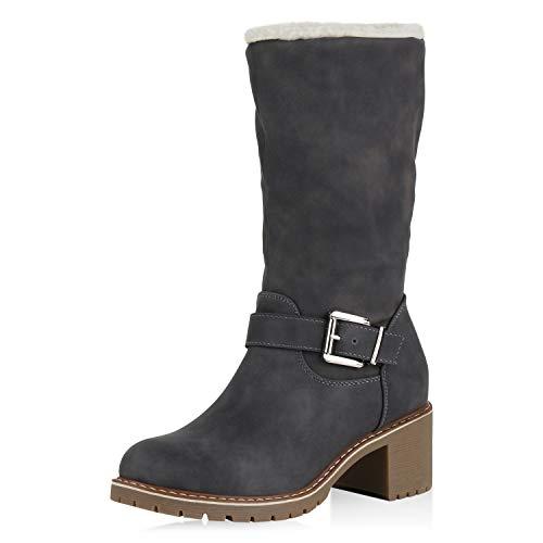 SCARPE VITA Damen Winterstiefel Warm Gefütterte Stiefel Winter Boots Kunstfell 169775 Grau 41
