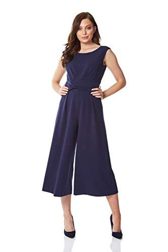 Roman Originals - Mono de mujer de pierna ancha recortada para mujer, estilo clásico de los años 40, todo en uno, parte frontal, sin mangas, cuello redondo, color azul marino, talla 12