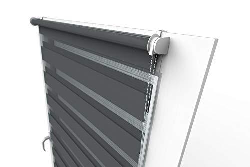 Aloha Doppelrollo Zebrarollo Duo Rollo Sonnenschutzrollo Klemmrollo Fensterrollo Klemmfix ohne Bohren für Fenster & Türen (Graphit / 60x150cm / Breite x Höhe)