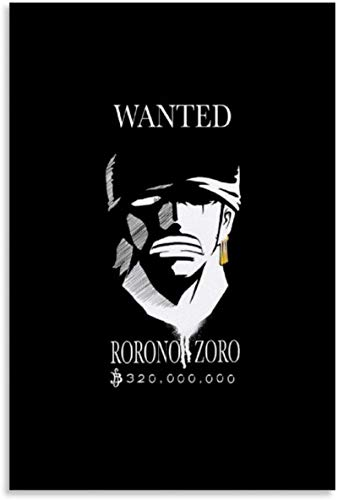 TANXM Canvas Artwork Painting 11.8'x19.7'no frame Roronoa Zoro Bounty Wanted Poster One Piece Anime 1 Print for Office Bedrooms Homes Dorm