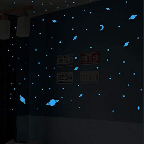 Ambiance Sticker Univers - 150 étoiles et planètes phosphorescentes Bleus - 42 x 25 cm