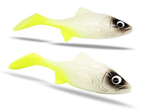 FISHINGGHOST®   RoachyOne – 2 Stück, 16cm, 75g - Gummifische zum Angeln auf Hecht, Zander, Waller, Dorsch, Seelachs & Heilbutt. Angelköder Softbait Shad für Raubfische