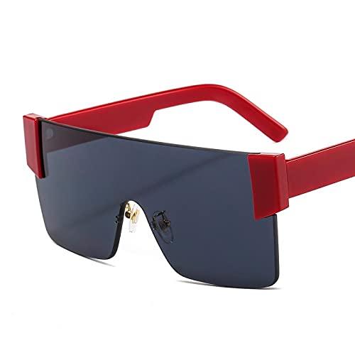 HAOMAO Gafas de sol graduadas de espejo sin montura de gran tamaño con sombras grandes vintage para mujeres y hombres rojo