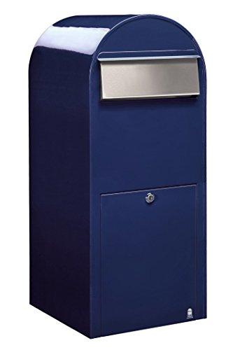 Bobi Jumbo Briefkasten RAL 5003 blau, Klappe aus Edelstahl Wandbriefkasten