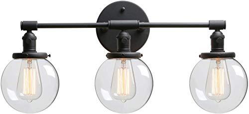 Lámpara industrial, Negro 3-luces Iluminación de la pared interior Edison E27 Lámpara de pared de zócalo con interruptor y globo Claro Shade Shade Wall Sconte Fittings Vanity Mirror Linterna para sala