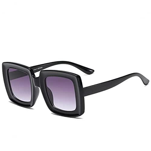 TYOLOMZ Gafas de Sol cuadradas con Montura Gruesa para Mujeres y Hombres, Gafas de plástico con Degradado, Gafas de Sol con Envoltura de Viaje, UV400