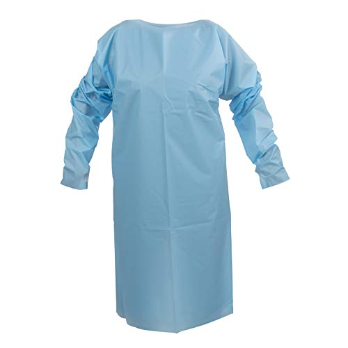 TIDIShield Protective Gowns, Blue, (Pack of 75) - Disposable Medical PPE Gown - ANSI AAMI PB70 Level 2 Protection - Universal Size - Latex Free - Medical Supplies Made in North America (8576A)