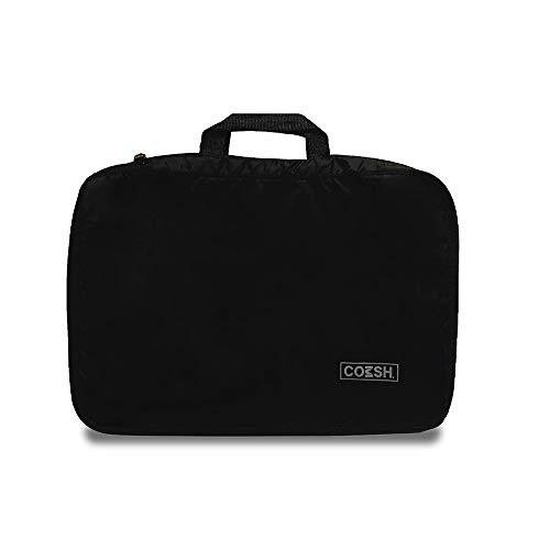 COMSH 圧縮バッグ 消臭 便利旅行 ファスナー A4サイズ相当 クローゼット機能 トラベルポーチ 収納バッグ 1~2泊 衣類圧縮バッグ 衣類仕分け 旅行 出張 多機能 簡単圧縮 軽量 便利グッズ (ブラック)