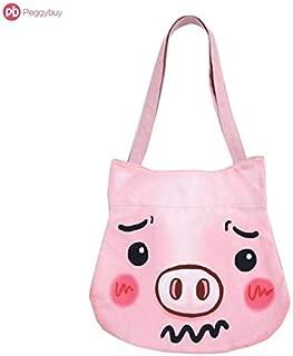 Gimax Shoulder Bags - Unique Cute Cartoon Pig Cat Shiba Koala Printed Shape Casual Handbags Women Canvas Shoulder Bag Shopping Totes Bolsa Feminina - (Color: Pig)