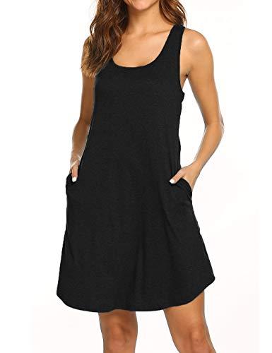 Womens Summer Dresses Beach Coverup Casual Sleeveless Racerback Tank Top Dress with Pockets Black