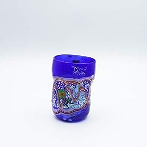 Vaso estilo: bocetos azul de cristal de Murano abierto a mano, envuelto con manchas y hilos opacos fundidos en su interior. Original Murano Glass. Fabricado en Italia.