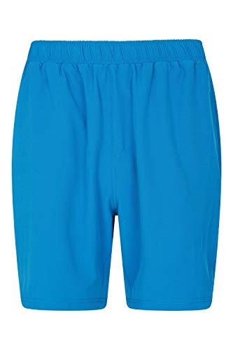 Mountain Warehouse Hurdle Pantalones Cortos para Correr para Hombre - Ligeros, rápida absorción, Cintura elástica, Bolsillos de Malla - para Ciclismo, Gimnasio Azul XXS
