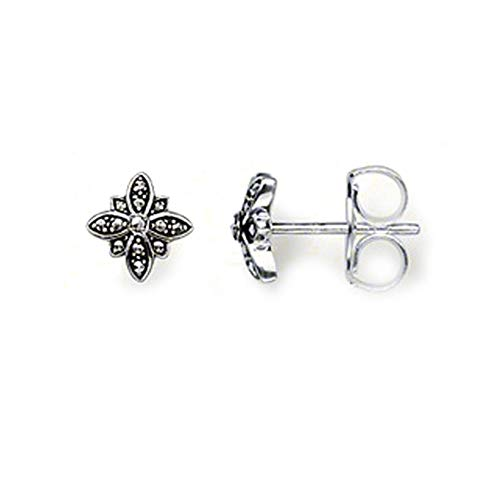 C- Pendientes de botón Marcasite Black Star, Glam Fashion Good Jewerly para Mujeres, Regalo en Plata de Ley 925