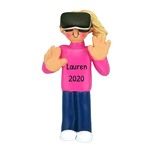 Personalized Virtual Reality Christmas Tree Ornament 2020 - Blonde Girl Real-Life Visual Technology Computer Simulate Holiday VR Interact Grand-Daughter Trend Hobby Teen Gamer - Free Customization