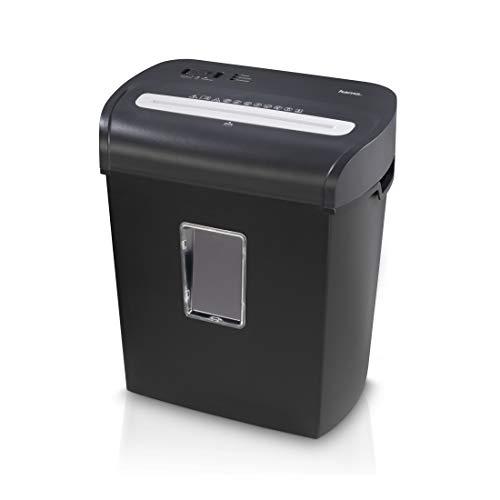 Hama Aktenvernichter fürs Home Office (Partikelschnitt, Micro-Cut-Schredder, bis 8 Blatt Papier, Plastikkarten, 20 Liter Papierkorb, Start/Stopp-Automatik, Sicherheitsstufe P4, gemäß DSGVO) schwarz