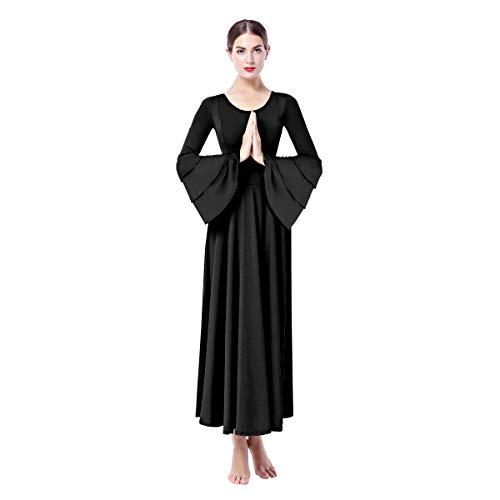 OBEEII Mujer Vestido Litúrgico Manga Larga Vestido de Ballet Clásico Gimnasia Danza Combinación Disfraces para Bautizo Ceremonia Baile Litúrgico Danza Casual 002 Negro M