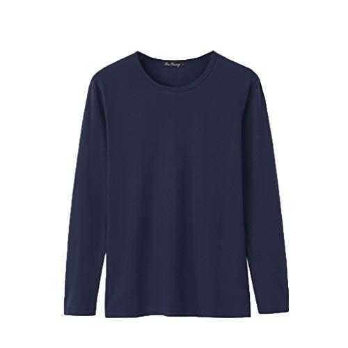 Junjie Heren Tops, Heren Mode Effen Kleur Ronde hals Lange mouwen Comfortabele Blouse Top Shirt