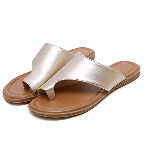 Grote Teen Correctie Platte Sandalen Dames, Dames Orthopedische Sandalen, Comfortabele Sandalen Schoenen Corrector Sandalen, Casual Ademende Thong Orthopedische Bunion Corrector Sandalen, Beige, 37