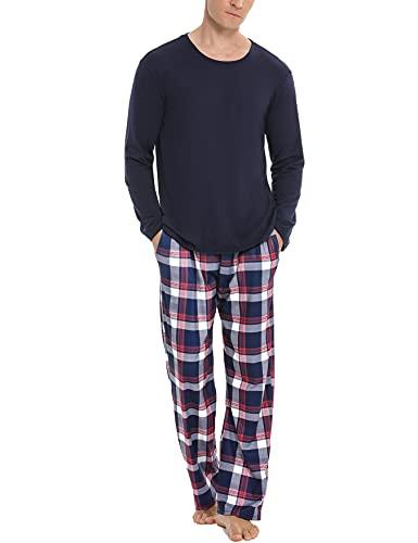 NA Schlafanzug Herren Lang Baumwolle Pyjama Set Zweiteiliger Nachtwäsche Langarm Oberteil und Karierte Schlafanzughose Sleepwear Hausanzug Dunkelblau L