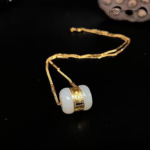 JIUXIAO 24 K 999 Oro con Incrustaciones de Cuentas de Jade Blanco Chino Natural Colgante CollarMujer joyería Regalo
