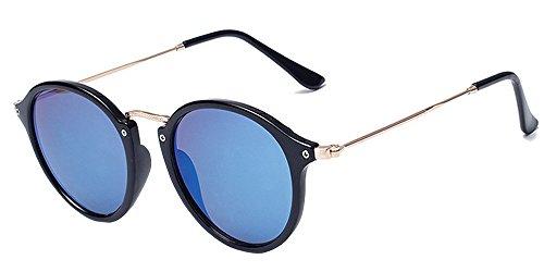 BOZEVON Retro Metall Cateye Sonnenbrillen - Vintage Rund Sonnenbrille für Damen & Herren Schwarz-Blau
