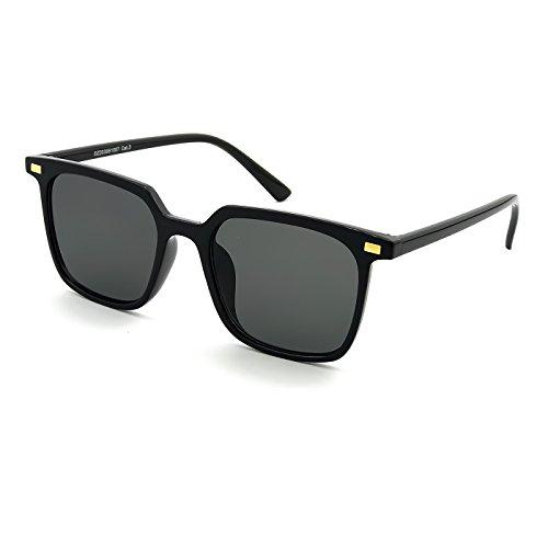 KISS Gafas de sol Fashion mod. HALL - hombre mujer HIPSTER square iron man VINTAGE - NEGRO BRILLANTE