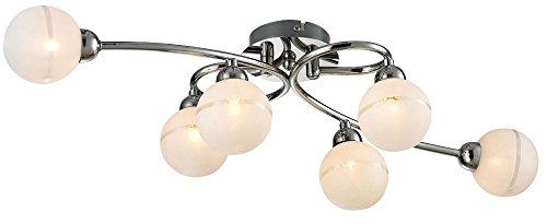 Design Decken Lampe Strahler Glas Kugel Chrom Esszimmer Leuchte 6-flg Esto 60750-6