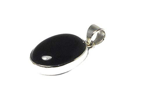 Pendentif en onyx noir ovale en argent sterling 925