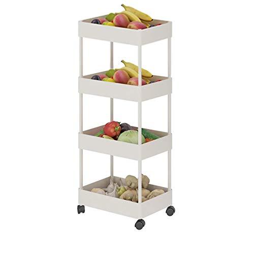 Warmiehomy Soporte deslizante con 4 estantes para ruedas, organizador de frutas, verduras, para cocina, baño, oficina, garaje, salón de belleza (blanco, altura 90 cm/4 niveles)