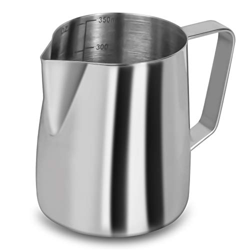 Milk Frothing Pitcher, 12 Oz Milk Frother Steamer Cup Stainless Steel Espresso Cup