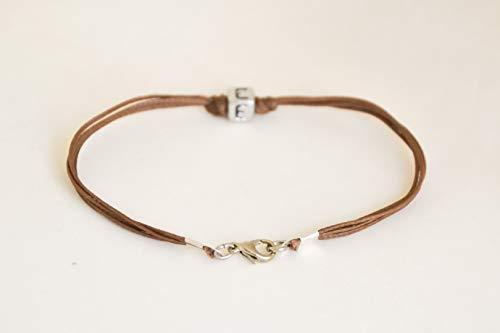 Initial bracelet, customised men's bracelet, silver tone charm, english letter, brown cord, Personalised monogram bracelet for men, gift for him