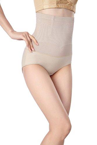 COMVIP Culotte Taille Haute Femme Slip Sculptante Body Gainant Ventre Plat Push Up Minceur Abricot 56-66cm