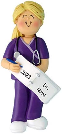 Personalized Scrubs Nurse Girl Christmas Tree Ornament 2020 Blonde Woman Practitioner Medical product image