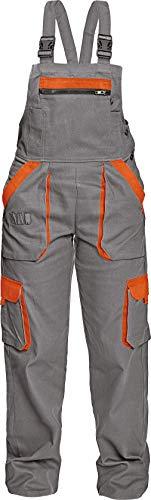 DINOZAVR Max Damen Latzhose - Multi Taschen Baumwolle Atmungsaktiv und Leicht Arbeitshose - Grau/Orange 54