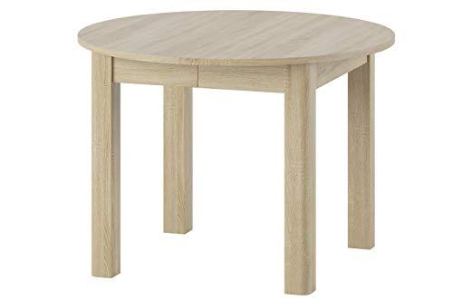 MPS Möbel praktisch Tisch INDUS 105x76x105 cm cm Esstisch mit ausziehbarer Tischplatte auf 240 cm ausziehbar Küchentisch Esszimmertisch Ausziehtisch (Sonoma Eiche)
