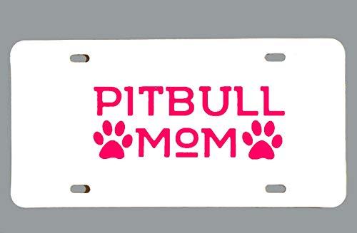Placa de licencia decorativa para coche, hecha a mano, placa de tocador de Pit Bull Mom, placa de licencia frontal, accesorio para auto con impresión de huellas Pitbull, 15,5 x 30,5 cm