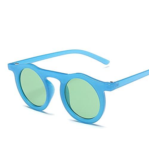 Powzz ornament Gafas De SolRedondas Para HombreGafas De SolClásicas ParaMujer Gafas Vintage Para Mujer Gafas Retro De Sol De Mujer-Azul