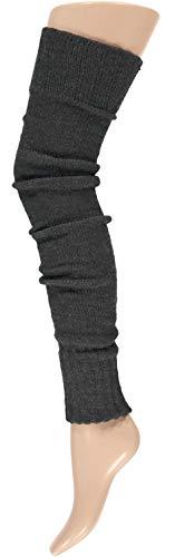krautwear® Damen Beinwärmer Stulpen Legwarmers Overknees gestrickte Strümpfe ca. 70cm 80er Jahre 1980er Jahre (anthrazit)