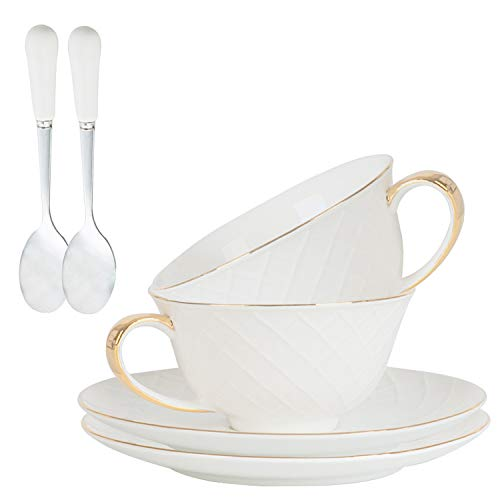 Coffee Tea Cups,Porcelain Espresso Cups Set of 2,Coffee Mugs,Tea Cups and Saucers Spoon,(8 oz) with Gold Trim and Gift Box,Cappuccino Cups,Coffee Cups,China Porcelain Tea Set,Latte Cups (Rhombic grid)
