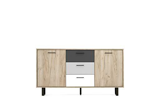 Sideboard - Farbmix (B/H/T: 160 x 86 x 35 cm) 2 Türen, 3 Schubkästen | pulverbeschichtete Metallgriffe & Kufenfüße