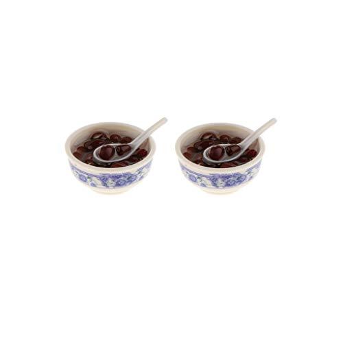 F Fityle 1/12 Casa de Muñecas Cocina en Miniatura Comida Decorativa 2 Piezas Sopas de Frijoles Rojos en Un Tazón