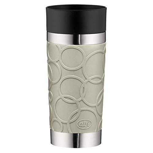 alfi Thermobecher isoMug Plus Soft, Kaffeebecher to go Edelstahl beige 350ml, Isolierbecher mit Druckknopf, auslaufsicher, zerlegbarer Verschluss, 5635.294.035 spülmaschinenfest, 4 Stunden heiß