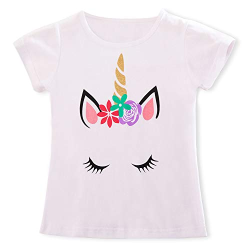 TTYAOVO Camiseta para niñas Unicornio, Camiseta de Manga Corta de Verano Camiseta para Imprimir de Unicornio Linda para niñas Tamaño (L) 5-6 años Blanco