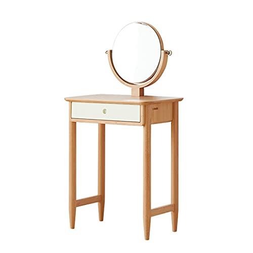 OMIDM Mesa de vanidad con Espejo Redondo, tocador de Madera de tocador de Maquillaje con 1 cajón para niñas Muebles de Dormitorio para Mujer